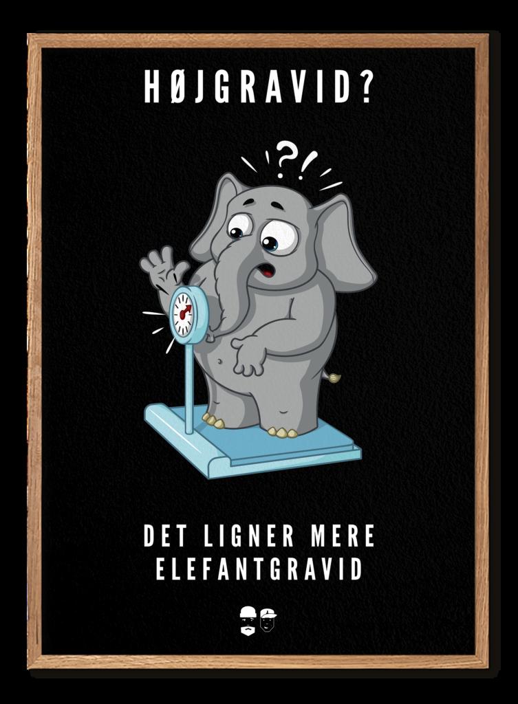 Elefantgravid m ramme - Mørk
